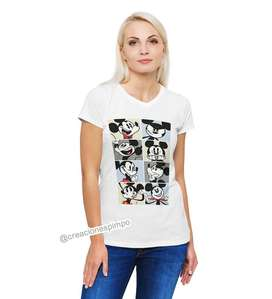 pago contra entrega, Camiseta para mujer Mickey cuadros casual poliéster moda tacto algodón