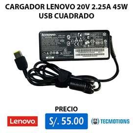 CARGADOR LENOVO 20V 2.25A 45W Punta USB