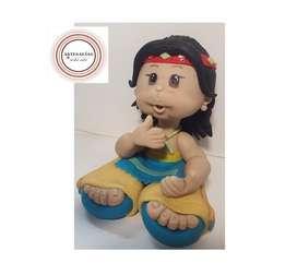 Adorno de Torta Indio. Porcelana fría Leticia