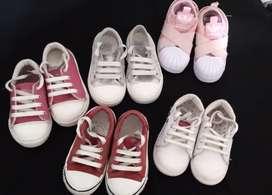Lote 5 pares de zapatillas niña talle 24