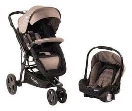 Coche para bebé Kiddy Compass Plus (negro y marrón ) + Base para huevito con anclaje IF