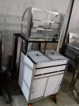 Doble freidor, con vitrina vidrio curvo de 60×35 cm