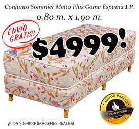 ¡Envío Gratis! Sommier mas colchon Plus 1 plaza. Cama o Conjunto Somier! EN MENDOZA! WHATSAPP 261- 460- 7416