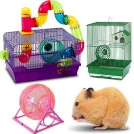 Jaula hamster rueda tubos alimento mascota