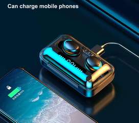 TWS - TWINS Audifono Mano Libre Estereo Par versión 2021 con Base Power Bank 3500mAh Carga Celular - 8888