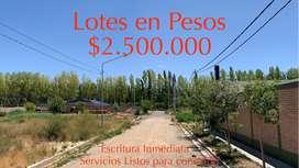 LOTES EN PESOS $2.500.000 Barrio Abierto Río Limay.