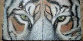 Increíble pintura al óleo hiperrealista de rostro de tigre de 50x30cm
