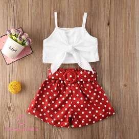 Conjunto Blusa Blanca/Short Rojo Lunares Blancos