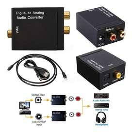 Convertidor De Audio Digital Óptico A Rca Análogo + Cable Óptico De 1.5 Mt