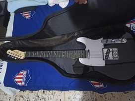 Guitarra electrica con forro, cable, planta y cuerdas de repuesto