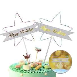 Estrella Feliz CumpleañosTopper de Tortas Decoración Luz Led RF WB5