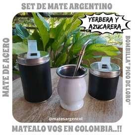 SET DE MATE ARGENTINO! MATE ACERO c\ BOMBILLA c\ YERBERA y AZUCARERA
