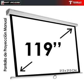 Pantalla de Proyección Manual 119 Pulgadas 213X213 cm Pared - Techo