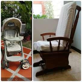 Mecedor y coche bebé en buen estado venta por separado. Escucho ofertas, 250.000 c/u