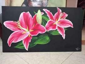 Lirio oriental, Pintura en óleo sobre lienzo