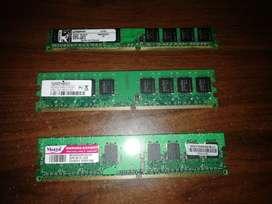 Memoria ddr2 de 2gb 667 MHz y Dos Memorias ddr2 de 1gb 667MHz $15 la de 2gb y $10 las de 1gb