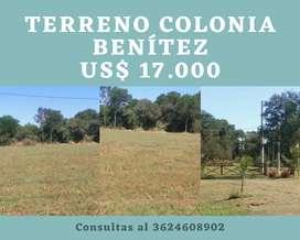 Vendo terreno en Colonia Benitez