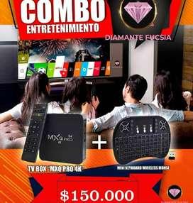 KIT TV BOX + TECLADO INALAMBRCIO RECARGABLE
