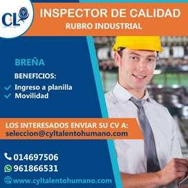 Se requiere Operario de Inspector de Calidad/ Breña