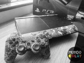 PS3 slim camuflada con caja