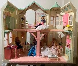 Mansión de la Barbie original de Mattel 1990 con ascensor y jacuzzi