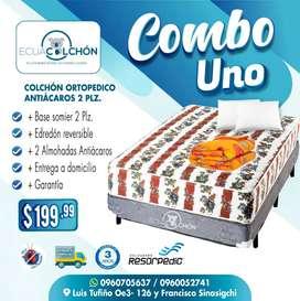 ! COLCHONES MAS BASE SOMIER 2 PLZ+COLCHON+ BOX +ALMOHADAS OBSEQUIO