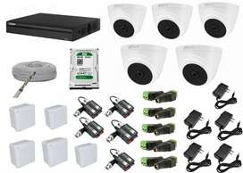 kit de 5 camaras de seguridad dahua domo full hd 1080p 2mp + Dvr de 8 canales