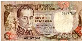 BILLETE  DE COLOMBIA  DE  2000  PESOS