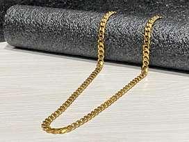 Cadena en oro laminado 60 cms cubana 6 mm hermosa