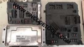 Set Completo de Inyeccion de Peugeot 206 y Citroen C3  Bosch ME7.4.4  ECU  BSI  BSM  Llave