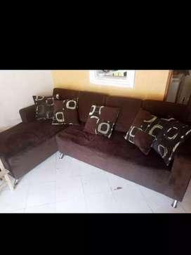 Muebles en L color cafe