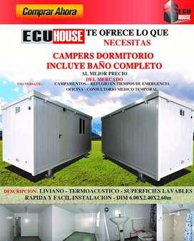 CAMPERS DORMITORIOS / MÓDULO DE 15m2 CON BAÑO COMPLETO