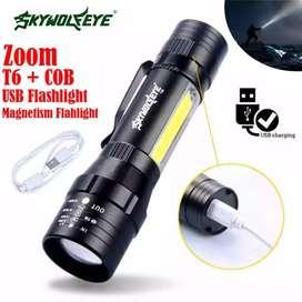Linterna led cree Usb 5v cob recargable zoom lámpara 3v 3 tonos metalica