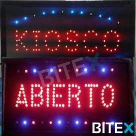 Cartel luminoso LED ABIERTO / KIOSCO