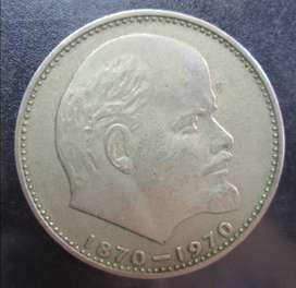 Moneda Rusia 1 rublo centenario natalicio de Lenin