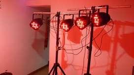 reflectores led con stands, controlador y cables