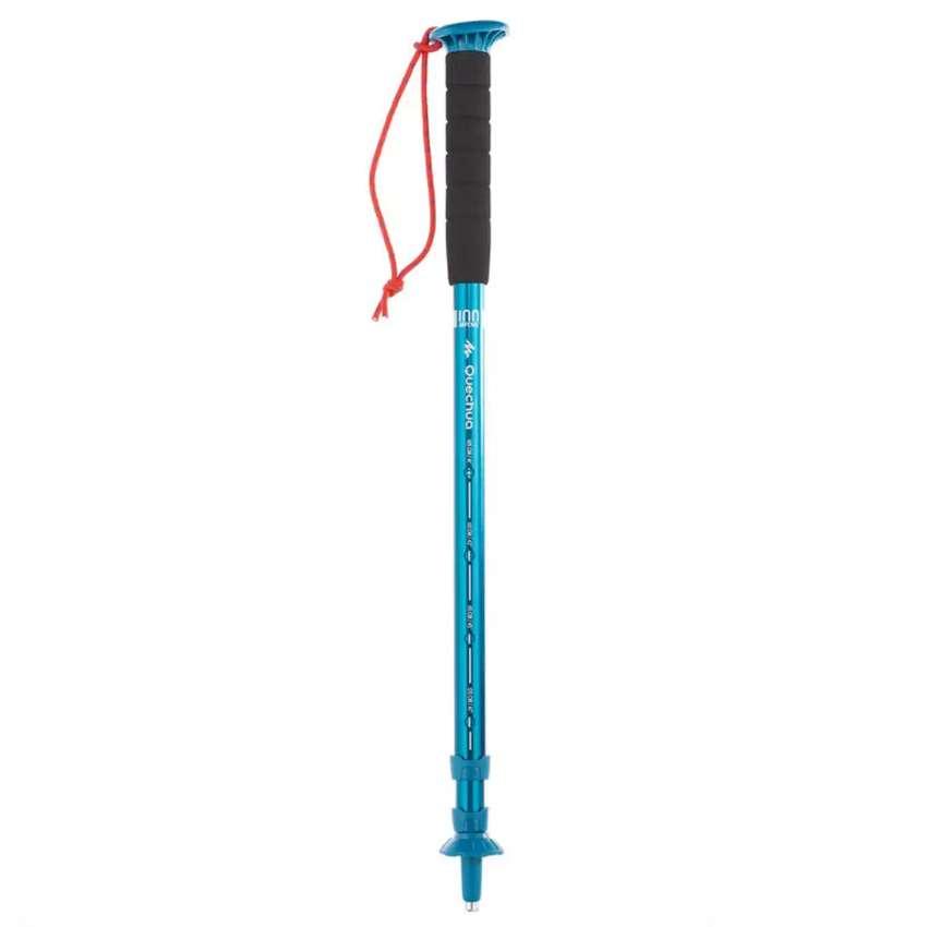 Bastón De Senderismo y trekking en aluminio HIKE 100 Azul Sistema Push-pin (botón pulsador) muy simple y fiable.