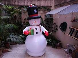 Muñeco De Nieve Y Ratón Animados Inflables De Navidad