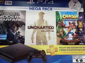 Consola PS4 nueva sellada con 7 juegos