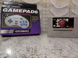 Snes Super Nintendo Superfamicon Juego Nba Jam mas Joystick en caja