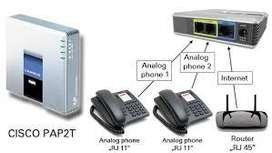 Cisco pap2t linksys abierto para cualquier operador llamadas internacionales 2 puertos voip voipiador