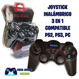 Joystick Inalámbrico 3 en 1 Compatible Ps2, Ps3 y PC