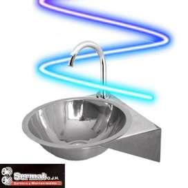 Lavamanos En Acero Inox 34.5 X 37 Cm