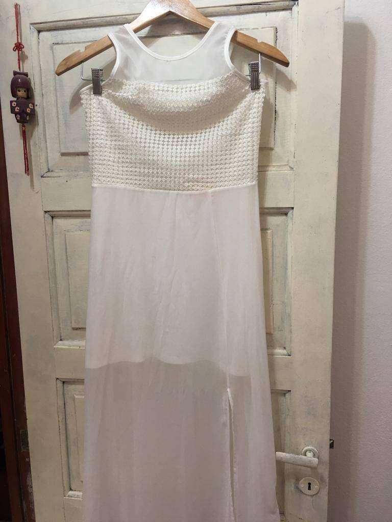 Vestido largo color blanco talle m/38 0