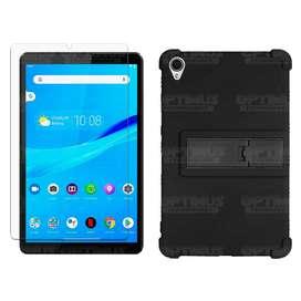 Kit Vidrio templado y Estuche Protector de goma antigolpes con soporte Tablet Lenovo Tab M8 8505x / x8505f