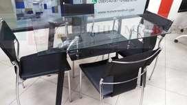Juego de comedor mesa de vidrio elegante