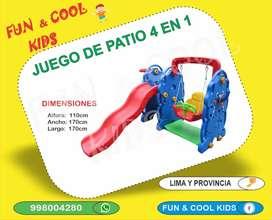 JUEGO PARA NIÑOS - JUEGO DE PATIO 4 EN 1 - RESBALADERA - ARCO DE BASQUET - COLUMPIO - ENCAJE