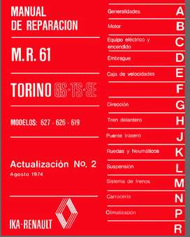 TORINO 627-626 Y 619 MANUAL DE REPARACION ACTUALIZACION No. 2  1974
