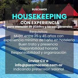 Housekeeping - Encargada limpieza para hotel boutique en El Soberbio