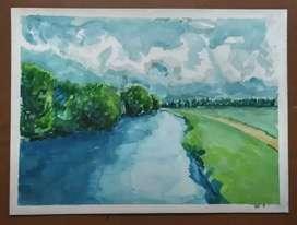 Rio primaveral acuarela cuadro decorativo